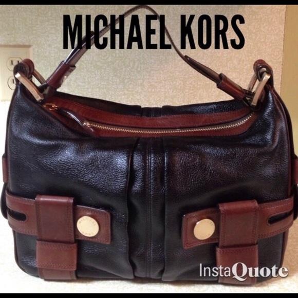 Michael Kors Handbags - MK Vintage Satchel Brown & Black Pebble Leather